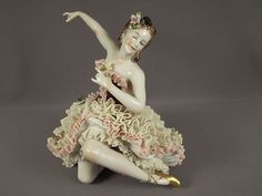 German Porcelain Dresden Lace Lady Dancer Figurine