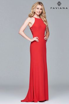 Feel stunning in one of our red prom dresses. FAVIANA S 7913 Halterneck stretch crepe dress with sweep train