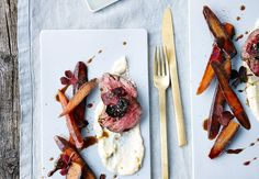 Friday night dinner suggestion: Tenderloin of veal with celery purée, carrots and beetroot chips Dinner Suggestions, Friday Night Dinners, 20 Min, Beetroot, Dinnerware, Carrots, Food Porn, Chips, Menu