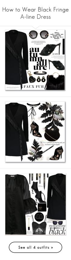 """""""How to Wear Black Fringe A-line Dress"""" by marika-jane ❤ liked on Polyvore featuring Gucci, Aquazzura, T-shirt & Jeans, Alexander Wang, Vanessa Mooney, H&M, Nina, WithChic, allblack and polyvoreeditorial"""