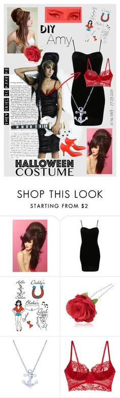 """DIY Amy Winehouse Halloween Costume"" by cinthiasoto ❤ liked on Polyvore featuring Amy Winehouse, Pilot, Chicnova Fashion and BERRICLE"