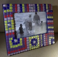 Mosaic Tile Frame with Silver and Crystal Elements 4x6  https://www.etsy.com/listing/200185977/mosaic-tile-frame-with-silver-and