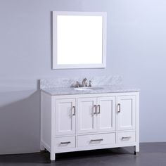 Legion Furniture WA6348 48-in Solid Wood Vanity with Sink and Mirror at ATG Stores