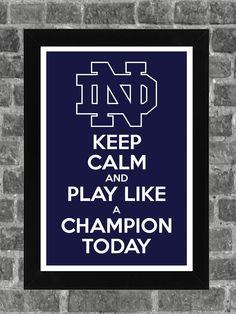 Keep Calm Notre Dame Fighting Irish NCAA Print Art 11x17. $14.99, via Etsy.