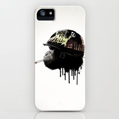 Born to kill iPhone & iPod Case by Nicklas Gustafsson - $35.00 #monkey #illustration #borntokill #movie #military #helmet #army #iphone #case