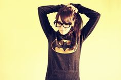 this is basically what i look like right now. Batman shirt, pony tail, bangs and nerd glasses, I feel cool
