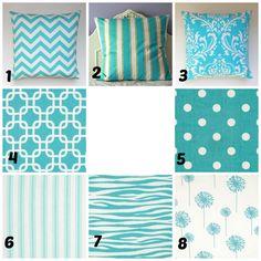 Pillow Throw Throw Pillow Cushion  Aqua Blue by PrettyPillowsDecor, $16.00