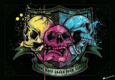 """""""Stoned Skulls"""" Affiche originale, créée à partir d'une dessin Noir et Blanc retravaillé sur ordinateur. Entre art illustratif et peinture numérique, cette affiche aux allures de tatouage est disponible en format A3 où sur commande en format: 40*60 cm à 16€ et 80*120 cm à 40 euros."""