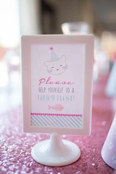This adorable and Sweet Kitty Cat Birthday Party at Kara's Party Ideas is filled with paw-ty inspiration that will knock your socks off! Cat Themed Parties, Puppy Birthday Parties, Cat Birthday, Birthday Party Decorations, Birthday Ideas, Kitten Party, Cat Party, Party Signs, Kitty Cats
