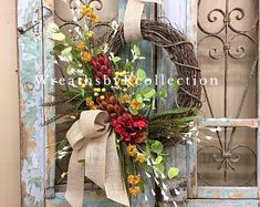 Summer Wreath, Grapevine Wreath, Door Decor, Everyday Wreath All of our Wreaths & Door Swags are designed with the highest quality in Season ribbon and florals market has to offer. Summer Door Wreaths, Holiday Wreaths, Wreaths For Front Door, Spring Wreaths, Holiday Decor, Sunflower Centerpieces, Coastal Wreath, Grapevine Wreath, Wreath Fall