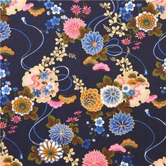 dark blue Asia flower Asia fabric with gold print from Japan 1