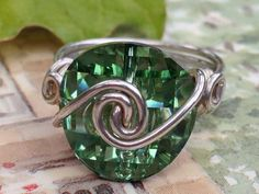 Wire wrapped Sterling Silver Swarovski Crystal by CrystalBaubles, $27.95