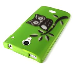 For Sharp Aquos Crystal Case - Green Owl Design Ultra Slim Snap Phone Back Cover