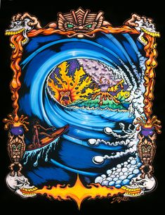 VOLCANO TUBE (c) Drew Brophy 1999 - 15x28 mixed media on wood - Licensed to Lost for Apparel