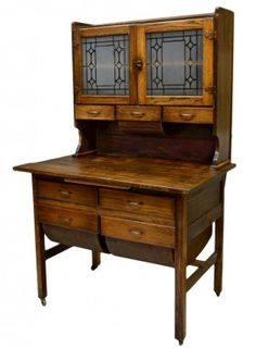 Antique kitchen cabinet or possum belly cabinet, American, c. Country Furniture, Kitchen Furniture, Country Decor, Home Furniture, Antique Furniture, Antique Kitchen Cabinets, Vintage Kitchen, Cupboards, Antique Decor