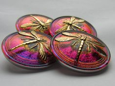 What a beautiful thing - Irridescent Czech Glass Dragonfly Buttons (new) - Etsy.