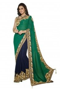 Dazzling Dark Green and Dark Blue Saree by Mahotsav