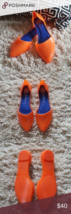 Jeffrey Campbell jelly flats These shoes are stunning! I've only worn them once cause I'm not brave enough to wear them out! So bold! Love these with a basic outfit as your pop of color! Make me an offer! Jeffrey Campbell Shoes Flats & Loafers