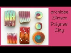 Polymer Clay Cane and Spirals Tutorial. How to make cane and spirals, video tutorial By Archidee. Murrine a Spirali Strisce. Spiral & Stripes C. Polymer Clay Kunst, Polymer Clay Canes, Fimo Clay, Polymer Clay Projects, Polymer Clay Creations, Polymer Clay Jewelry, Clay Crafts, Video Fimo, Plastic Fou