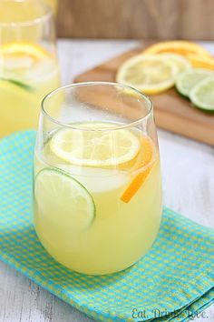 Spring Sangria:  1 bottle of fruity white wine, 3 cups Sprite (you can also use lemon lime sparkling water), 2 cups pineapple juice, 1/2 cup orange juice, sliced lemons, lime, and oranges (and pineapple?)