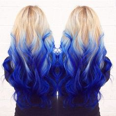 long blonde hair with blue ombre  Ombre on Wavy Mermaid's Hair Check this dramatic blue ombre hair style. The blue is blended so skillfully into the blonde base as if the bits of dye have been diluted in water. We also like how the cotton-candy platinum blond works with the electric shade of blue she sports from the midpoint of her hair down to the tips. If your hair is not long enough, you may achieve the desired length with weave.