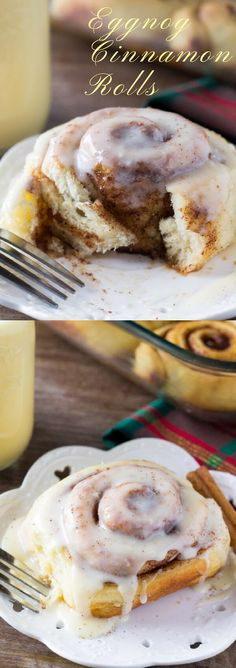 Fluffy Eggnog Cinnamon Rolls are filled with spices and drizzled with eggnog glaze. Prepare the buns overnight, then wake up deliciousness!