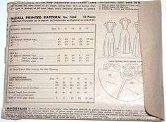 Vintage sewing pattern formal dress 1940s McCall 7662 di BNVintage