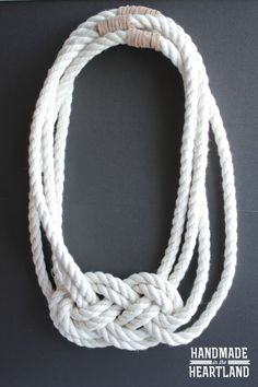 DIY Nautical Knot Rope Necklace. Photo tutorial. So cute! HandmadeintheHeartland.com