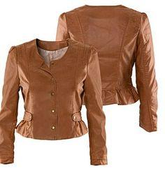 Las mujeres tan chaqueta de cuero marrón by Myleatherjackets, $159.99