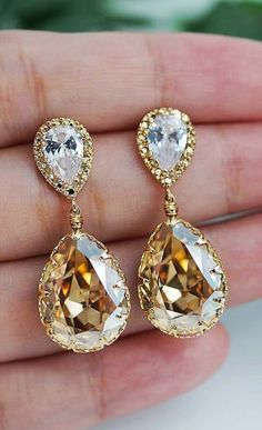 Gold Yellow Diamond Pear Cut Earrings