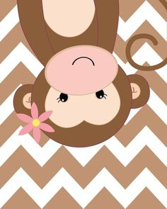 Your place to buy and sell all things handmade : Nursery Quad Pink and Brown Nursery Monkey Nursery Set of 4 Brown Nursery, Nursery Neutral, Monkey Nursery, Nursery Art, Decoration Creche, Baby Room Decor, Cute Illustration, Pattern Paper, Cute Wallpapers