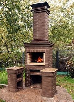 (51) Одноклассники Diy Outdoor Fireplace, Backyard Fireplace, Patio Fence, Raised Patio, Barbecue Design, Barbecue Grill, Brick Design, Patio Design, Outdoor Garden Bar