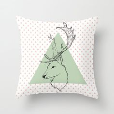 Hipster deer decorative throw pillows pink mint green pillow cover home decor triangle geometric art triangle