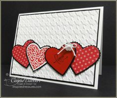 Valentine card - red/white