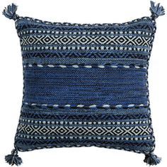 New chenille and cotton Trenza pillow from Surya in a deep indigo color with black and white details. (TZ-004 - Surya)