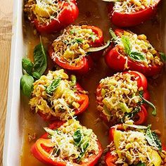 Farro-Stuffed Peppers From Better Homes and Gardens, ideas and improvement projects for your home and garden plus recipes and entertaining ideas.