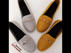 Crochet Shoes Pattern, Shoe Pattern, Baby Knitting Patterns, Crochet Patterns, Crochet Converse, Crochet Sandals, Crochet Videos, Loafers Men, Hand Embroidery