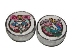"""Eat Me, Drink Me Plugs - 1 Pair (2 plugs) - Sizes 0g, 00g, 7/16"""", 1/2"""", 9/16"""", 5/8"""", 3/4"""", 7/8"""", 1"""" - Made to Order"""