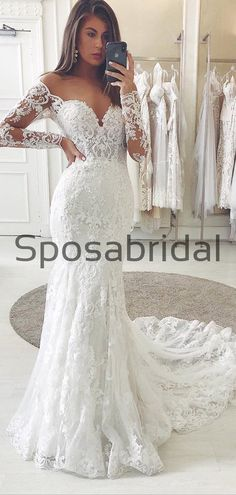 Country Lace Mermaid Long Sleeves Elegant Wedding Dresses WD0448 #weddingdresses #weddingdress #bridalgown #weding #bridaldress #laceweddingdress #fashion #Ballgown #Country #boho #Princess #modest Country Wedding Dresses, Wedding Dresses Plus Size, Princess Wedding Dresses, Elegant Wedding Dress, Colored Wedding Dresses, Best Wedding Dresses, Bridal Dresses, Country Prom, Prom Dresses