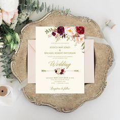 Burgundy Wedding Invitation Printable Wedding Suite Floral