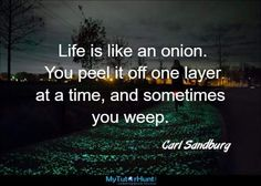 Life is like an onion. You peel it off one layer at a time, and sometimes you weep. Self Awareness, Life Is Like, Onion, Layers, Business, Quotes, Carl Sandburg, Layering, Qoutes