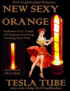 ORANGE Light up core Steampunk tubes radio tube by EvilToadStudios, $19.99