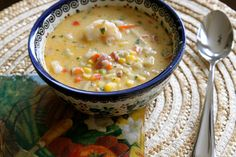 Le Creuset Thursday: Shrimp Corn Chowder by Rhonda Hayes of The Garden Buzz.