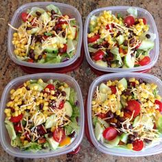 Meal prep for the week. Mexican Santa Fe Salads: lettuce, cucumbers, cherry tomatoes, cilantro, black beans, corn, and mexican mix cheese.