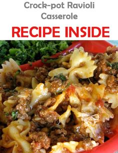 Crock-pot Ravioli Casserole: 1 lbs lean ground beef // 1 onion, chopped // 1 clove garlic, minced // 1 oz) can tomato sauce // 1 can stewed tomatoes // 1 tsp oregano // 1 tsp Italian hours on low Crock Pot Slow Cooker, Crock Pot Cooking, Slow Cooker Recipes, Beef Recipes, Cooking Recipes, Recipies, Easy Recipes, Delicious Recipes, Yummy Food