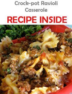 Crock-pot Ravioli Casserole: 1 lbs lean ground beef // 1 onion, chopped // 1 clove garlic, minced // 1 oz) can tomato sauce // 1 can stewed tomatoes // 1 tsp oregano // 1 tsp Italian hours on low Crock Pot Slow Cooker, Crock Pot Cooking, Slow Cooker Recipes, Crockpot Recipes, Cooking Recipes, Ww Recipes, Recipies, Delicious Recipes, Yummy Food