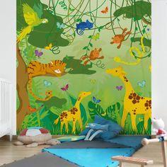Kinderzimmer wandgestaltung bauernhof  Kinderzimmer #Leinwandbild Fliegender Bauernhof Küken und Schwein ...
