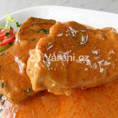 Dušené vepřové kotlety na paprice recept - Vareni.cz Meat, Chicken, Recipes, Food, Ph, Red Peppers, Recipies, Essen, Meals