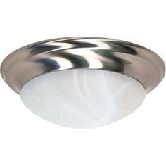 17-In W Brushed Nickel Ceiling Flush Mount Light Lw285