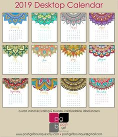 2019 Desk Calendar – Colorful Mandalas with Clear Case – Plantilla calendario - Malvorlagen Mandala Desktop Calendar, Kids Calendar, Calendar Pages, Desk Calendars, 2021 Calendar, Kalender Design, Christmas Address Labels, Printable Calendar Template, Flower Doodles
